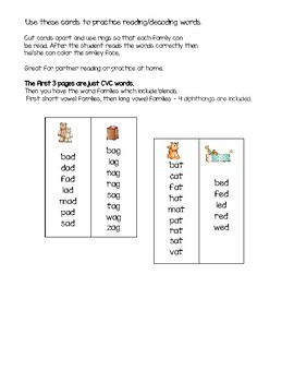 Word families Flip Cards