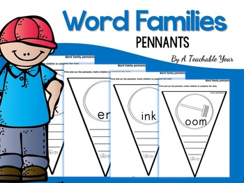 Word Families Interactive Pennants