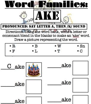 Word families worksheets bundle