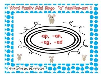 "Word family Mini Bingo - ""A"" Families - Set 1 - revised"