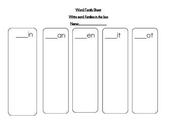 Word family Sheet