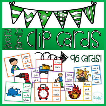 Word family ~ clip cards
