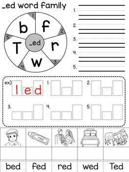 Word family wheel / CVC words / Short vowels / Handwriting / Rhyming