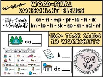 Word-final blends phonics/language activity