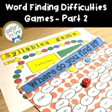 Word finding difficulties and word retrieval difficulties games PART 2