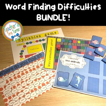 Word finding difficulties and word retrieval difficulties games THE BUNDLE!