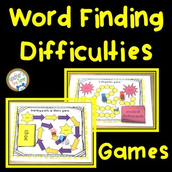 Word finding difficulties and word retrieval difficulties games and word maps