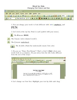 Word for Kids - Changing Fonts Handout