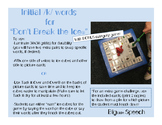 """Word- inital /k/ and Categories for """"Don't Break the Ice"""""""