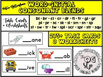 Word-initial Blends / Consonant Cluster Phonics Activity