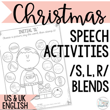 Word initial s, l, r blends- Christmas Speech Sound Worksheets- No Prep