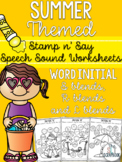 Word initial s, l, r blends- Summer Speech Sound Worksheet