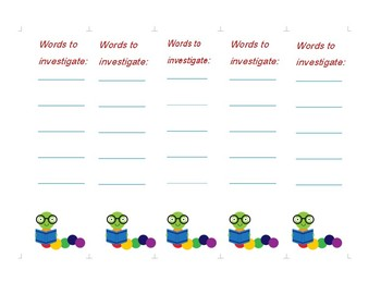 Word investigation bookmark