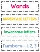 "Concepts of Print: ""Word is a Word? Letter? Number?"" Sort"