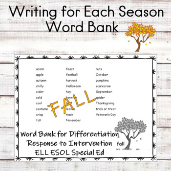 Word Lists for Writing for Each Season