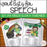 Articulation word lists and coloring pages for St.Patrick's Day