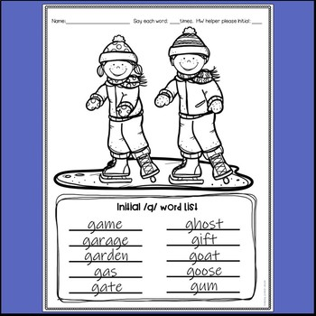 Word lists and coloring sheets for speech therapy - Winter Themed
