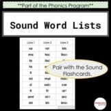 French Phonics Word Lists - these pair with Sound Flashcar