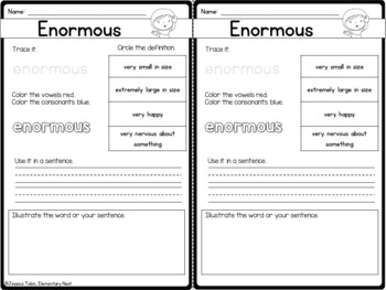 Vocabulary Activities- Word of the Day Set 1
