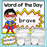 Word of the Day Editable Superhero Theme Posters & Comic Book Worksheets