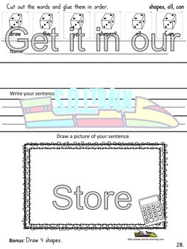 Back to School  Cut and Paste Activities for Vocabulary and Sight Words