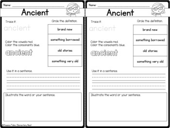 Vocabulary Activities- Word of the Day Set 4