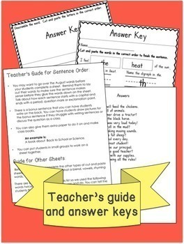 Back to School  Vocabulary, Sight Words and Phonics Cut and Paste Activities
