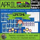 Editable April Vocabulary Word of the Day Calendar for Dis