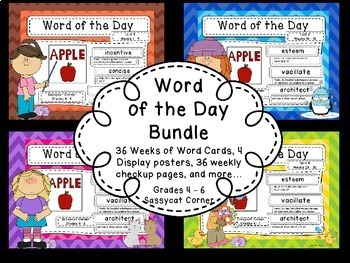 Word of the Day Bundle - 36 Weeks of Word of the Day lists and Word Cards