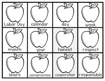 Word of the Day!--Calendar Pieces with Vocabulary Words for the School Year