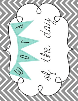 Word of the Day Chevron and Banner Freebie