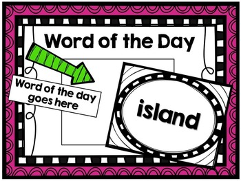 Word of the Day Class Activity- Kindergarten-1st