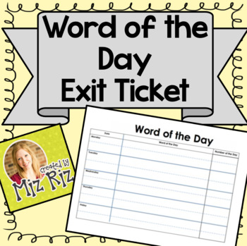Word of the Day!  {Exit Ticket!}