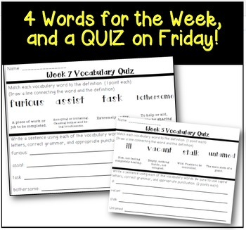 Word of the Day FOLDABLE Vocabulary Instruction- ENTIRE YEAR- Grades 5 and 6