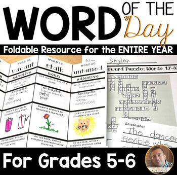 Word of the Day FOLDABLE Vocabulary Instruction- ENTIRE YE