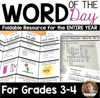 Word of the Day FOLDABLE Vocabulary Instruction- ENTIRE YEAR- Grades 3-4