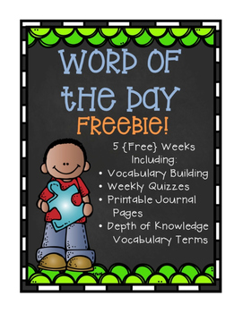 Word of the Day FREEBIE - 5 Weeks of Additional Words