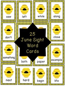 Word of the Day June Sight Word Cards