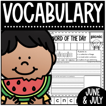 Word Of The Day June And July Vocabulary Printables For The Primary Classroom