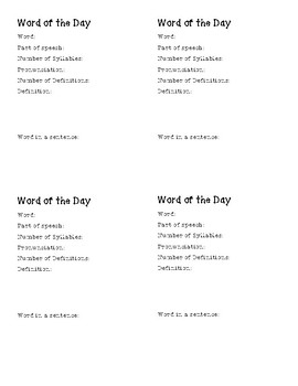 Word of the Day Learning Blocks