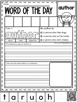 Word Of The Day March Vocabulary Printables For The Primary Classroom