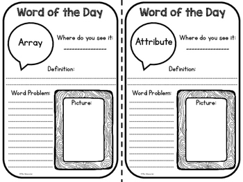 Word of the Day - Math Vocabulary Practice (3rd Grade)
