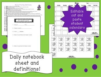 Word of the Day May Vocabulary Calendar