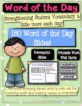 Word Wall: 180 Word of the Day Slides to Increase Vocabulary Skills