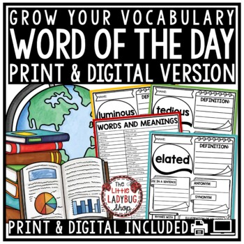 Word of The Day 3rd Grade, 4th Grade Vocabulary Activities, Word Work Activities