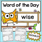 Word of the Day Editable Posters and Worksheets - Owl Theme Classroom