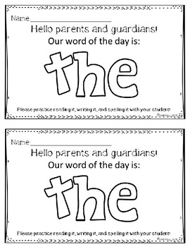 Word of the Day Parent Letters (Fry's First 100)