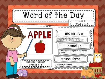 Word of the Day - Unit 1 - First 9 Weeks