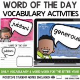 Word of the Day Vocabulary Activities Print and Digital