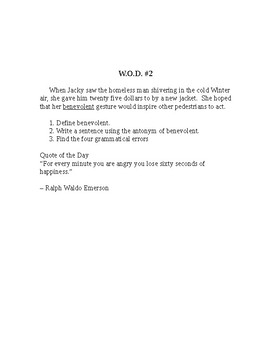 Word of the Day (W.O.D)- daily vocabulary and grammar lessons
